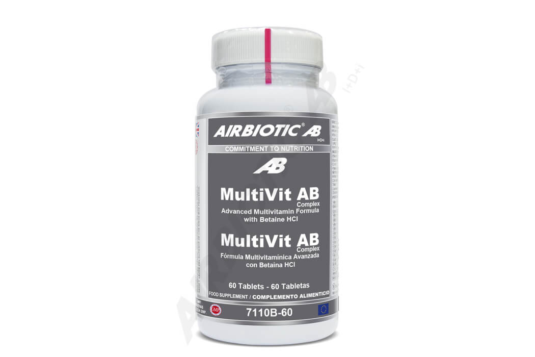 MultiVit AB Complex de Airbiotic® aporta 15 vitaminas en proporciones relevantes y equilibradas, junto con betaína HCl. Se trata de una de las mejores fórmulas de vitaminas del mercado.